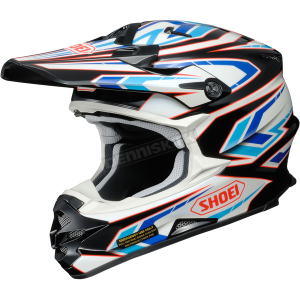 Shoei Helmets Black/Blue/White VFX-W Block Pass TC-2 Helmet - 0145-8702-08