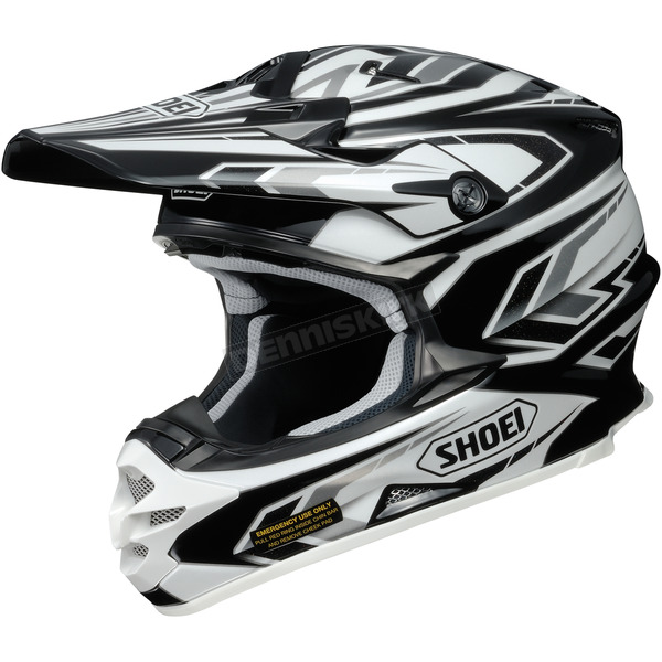 Shoei Helmets Black/White/Gray VFX-W Block Pass TC-5 Helmet - 0145-8705-08