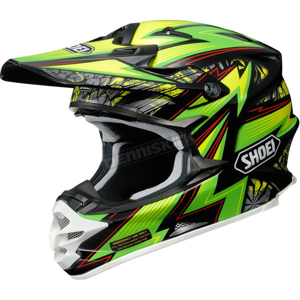 Shoei Helmets Green/Black/Yellow VFX-W Maelstrom TC-4 Helmet - 0145-8504-04