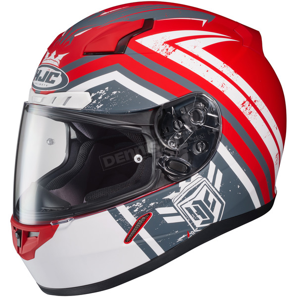 HJC Red/White/Gray CL-17 MC-1F Mech Hunter Helmet - 836-812
