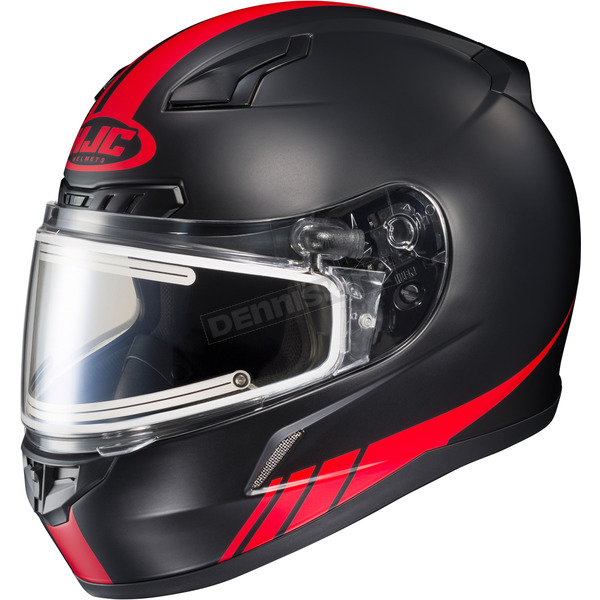 HJC Matte Black/Red CL-17SN Streamline MC-1F Snowmobile Helmet w/Electric Shield - 57-29518