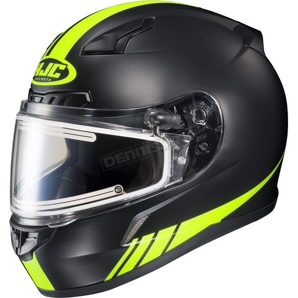 HJC Matte Black/Hi-Viz Neon Green CL-17SN Streamline MC-3HF Snowmobile Helmet w/Electric Shield - 57-29532