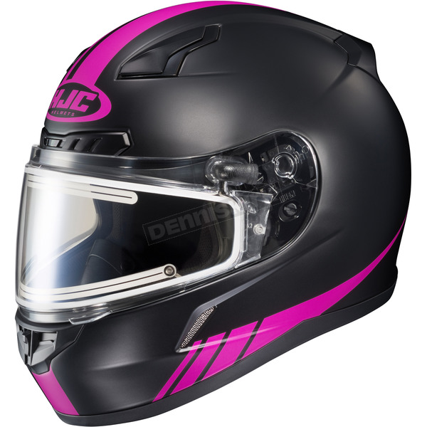 HJC Matte Black/Hi-Viz Neon Pink CL-17SN Streamline MC-8F Snowmobile Helmet w/Electric Shield - 139-881