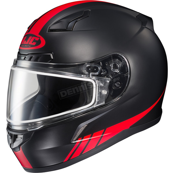 HJC Matte Black/Red CL-17SN Streamline MC-1F Snowmobile Helmet w/Dual Lens Shield - 57-19514