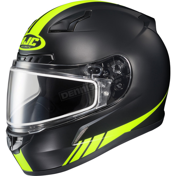 HJC Matte Black/Hi-Viz Neon Green CL-17SN Streamline MC-3HF Snowmobile Helmet w/Dual Lens Shield - 57-19532