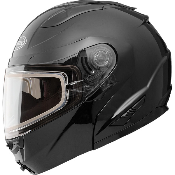 Black GM64S Modular Snowmobile Helmet with Dual Lens Shield - 72-6260S