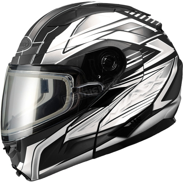 GMax Matte Black/White/Silver GM64S Carbide Modular Snowmobile Helmet with Dual Lens Shield - 72-6267X