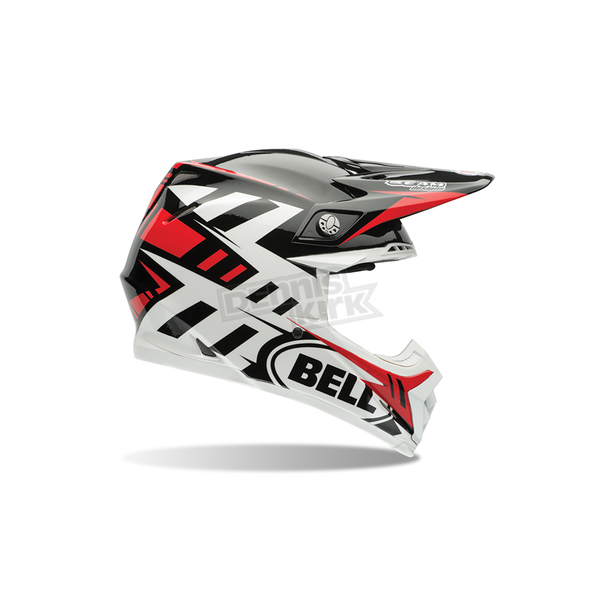 Bell Helmets White/Black/Red Moto-9 Syndrome Carbon Flex Helmet - 7060832
