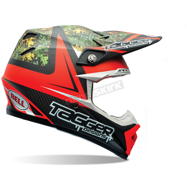 Bell Helmets Red/Black/Green Multi Moto-9 Carbon Flex Tagger Designs Tagger Rekluse Helmet - 7060854