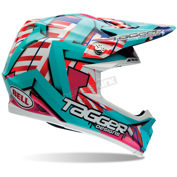 Bell Helmets Teal/Pink/Red/Orange Multi Tagger Designs Moto-9 Tagger Trouble Helmet - 7060916