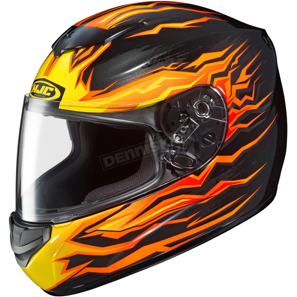HJC Black/Orange/Yellow CS-R2 Flame Block MC-7 Helmet - 0812-2007-04