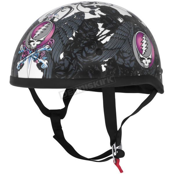 River Road Womens Black/Pink/White Grateful Dead Flying Steal Your Face Half Helmet - 645341