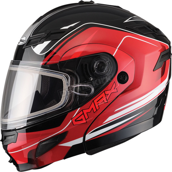 GMax Black/Red GM54S Terrain Modular Snowmobile Helmet - 72-6141S