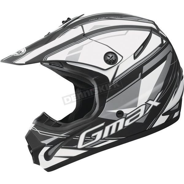 GMax Matte Black/White/Silver GM 46.2 Traxxion Helmet - 72-66512X