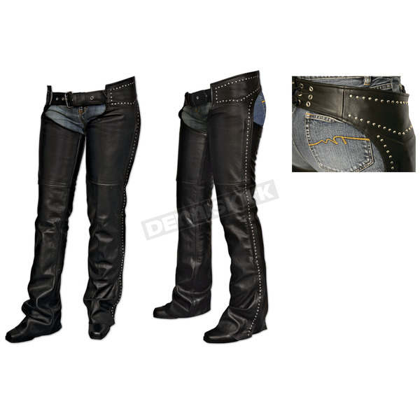 Milwaukee Motorcycle Clothing Co. Womens Black Studded Chaps - MV8580M