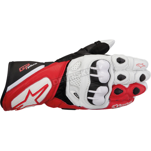 Alpinestars White/Red/Black GP Plus Leather Glove - 3556513-231-L