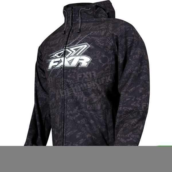 FXR Racing Black/Charcoal Disturbed Traction Tri-Laminate Hoody - 2920
