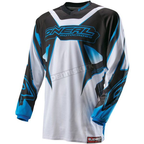 O'Neal Youth White/Blue Element Racewear Jersey - 0011