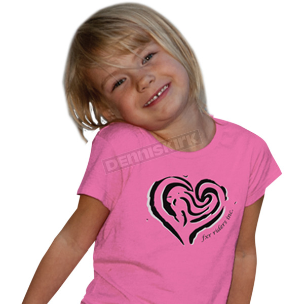 FXR Racing Youth Pink Heart T-Shirt - 2940