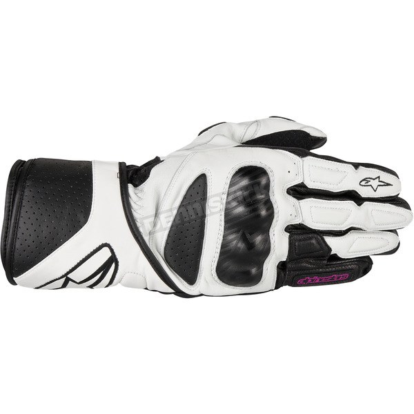 Alpinestars Womens Black/White Stells SP-8 LEather Gloves - 3518313-12-XL