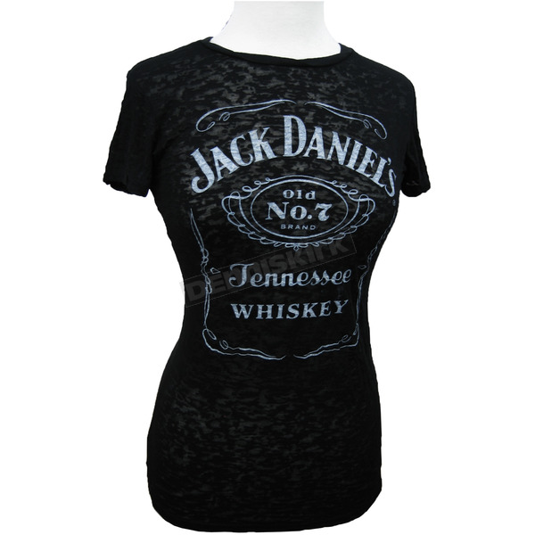 Jack Daniels Womens Label Burnout T-Shirt - 33361463JD-89-L