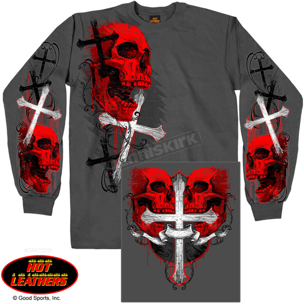 Hot Leathers Skulls and Crosses Long Sleeve T-Shirt - GMD2209XXXL