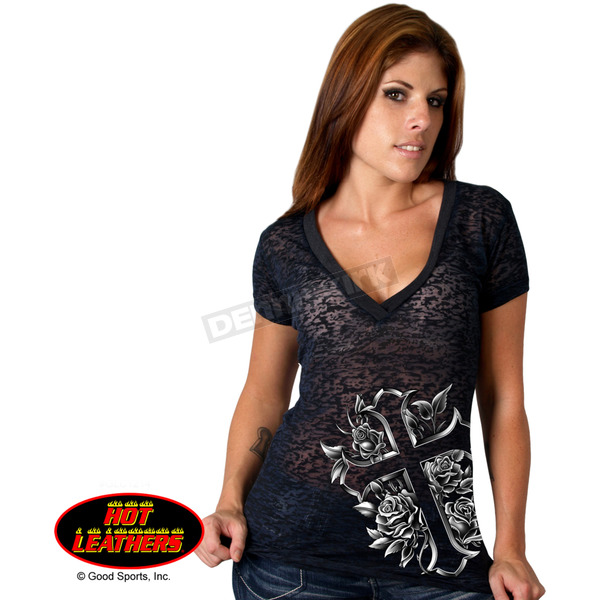 Hot Leathers Womens Cross & Roses Burnout T-Shirt - GLC1214L