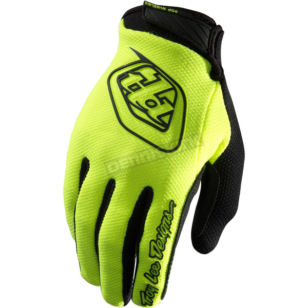 Troy Lee Designs Youth Fluorescent Yellow/Black Air Gloves - 406003504
