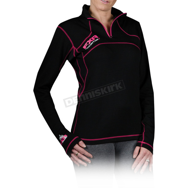 FXR Racing Womens Black Merino 1/4 Zip Long Sleeve Shirt - 14838.10016