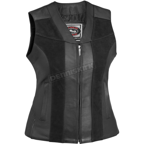 River Road Womens Black Santa Rosa Leather Vest - 09-5004