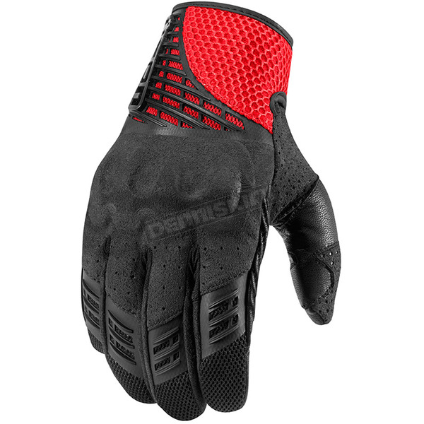 Icon Black/Red Sanctuary Gloves  - 3301-2099