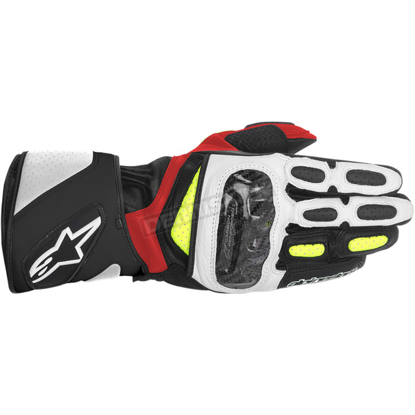 Alpinestars Black/White/Yellow/Red SP-2 Leather Gloves  - 3558214-1053-3X