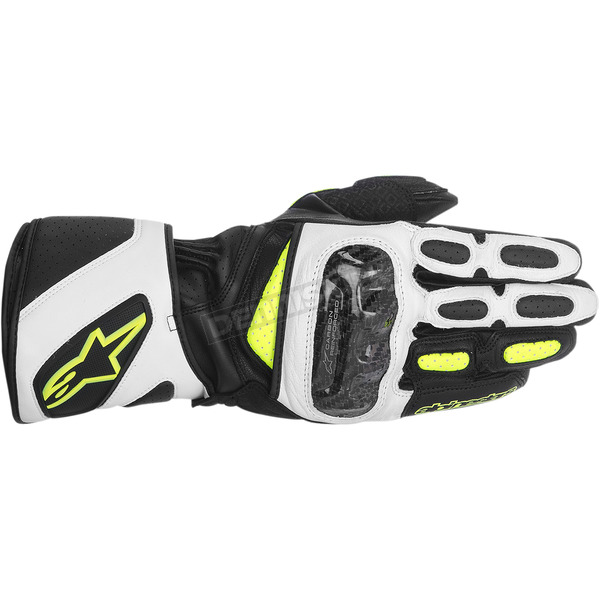 Alpinestars Black/White/Fluorescent Yellow SP-2 Leather Gloves  - 3558214-125-L