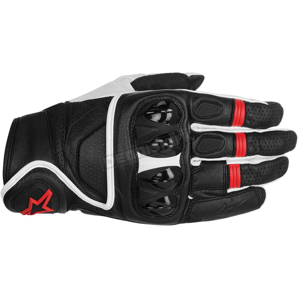 Alpinestars Black/White/Red Celer Leather Gloves  - 3567014-123-L
