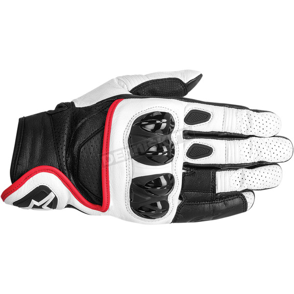 Alpinestars White/Black/Red Celer Leather Gloves  - 3567014-213-L