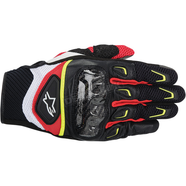 Alpinestars Black/White/Yellow/Red SMX-2 Air Carbon Gloves  - 3567714-1053-2X
