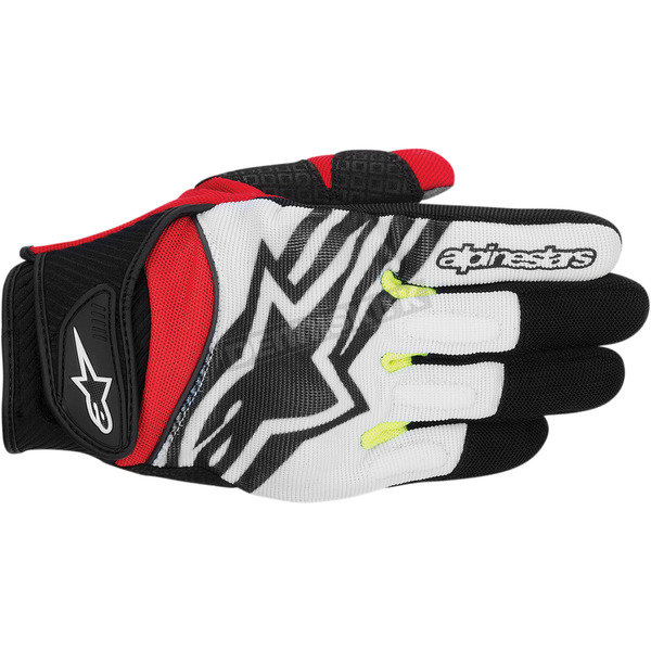 Alpinestars Black/White/Yellow/Red Spartan Gloves  - 3574714-1053-S