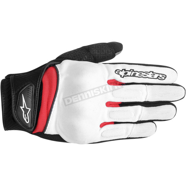 Alpinestars White/Black/Red Spartan Gloves  - 3574714-213-2X