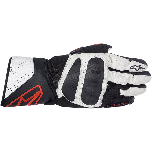 Alpinestars Black/White/Red SP-8 Leather Gloves  - 3558313-123-S