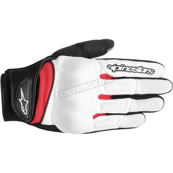 Alpinestars Womens White/Black/Red Stella Spartan Gloves  - 3594714-213-S