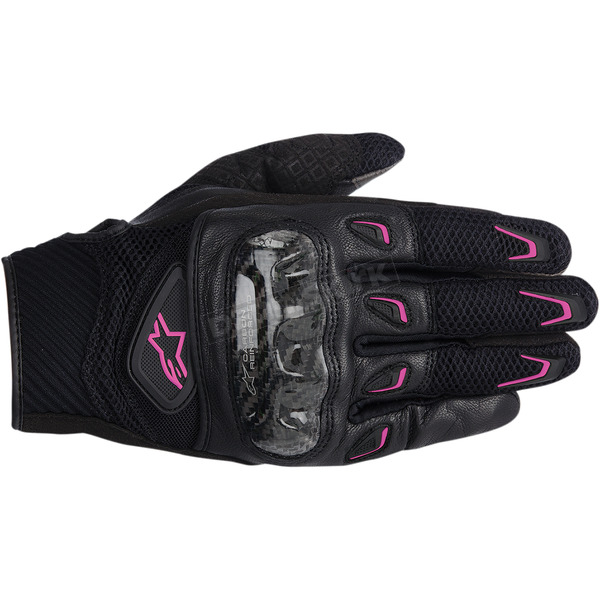 Alpinestars Womens Black/Fuchsia Stella SMX-2 Air Carbon Gloves  - 3517714-1039-XS