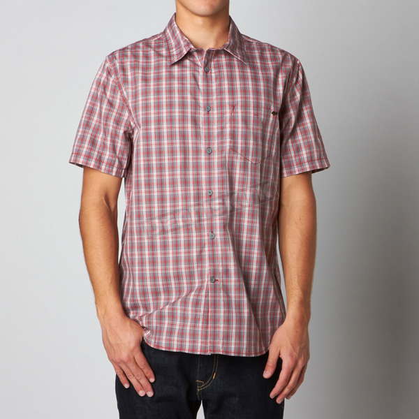 Fox Tibetan Red Control Button Down Short Sleeve Shirt - 09788-581-M
