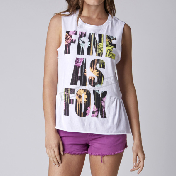 Fox Womens White Blown Out Muscle Tank - 10227-008-XL
