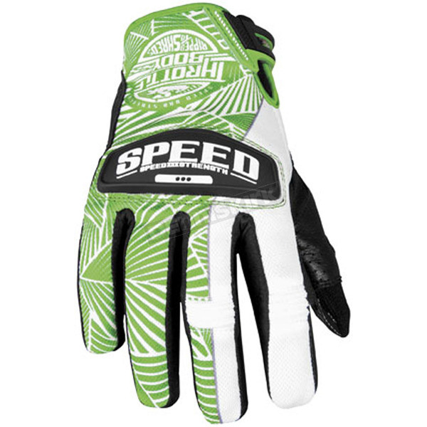 Speed and Strength Womens Green/White Leather and Mesh Throttle Gloves - 87-6964