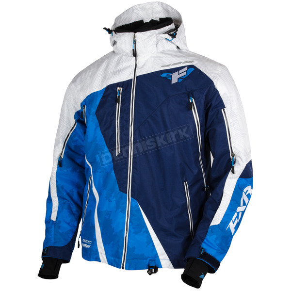 FXR Racing White/Navy/Blue Mission Lite Jacket - 15102.40016