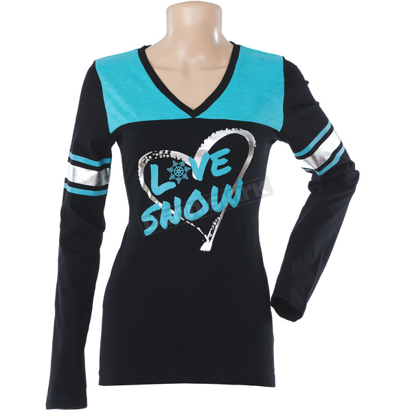 Divas Snowgear Womens Teal Varsity Long Sleeve T-Shirt  - 67628