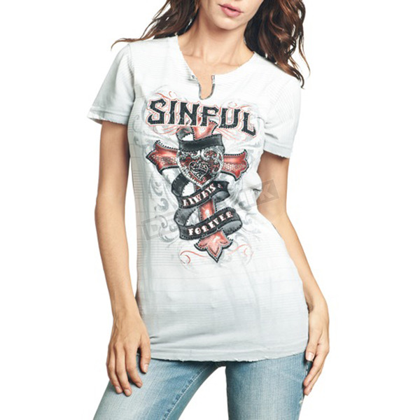 Sinful Womens White Eloise T-Shirt  - S3094-WH-S