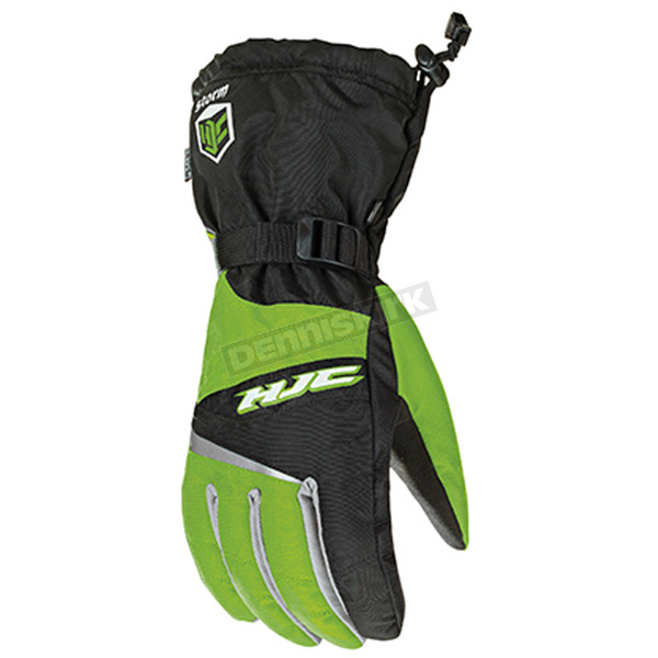 HJC Black/Green/Silver Storm Snowmobile Gloves  - 1411-047