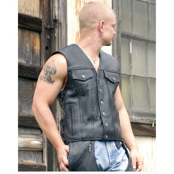 Milwaukee Motorcycle Clothing Co. Black Gambler Vest - M10113L