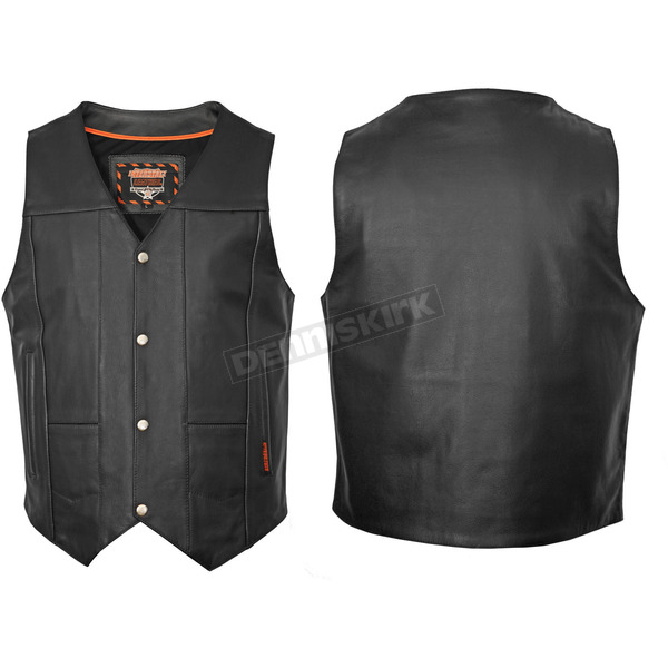 Interstate Leather Black Leather Ten Pocket Vest - I3562XL
